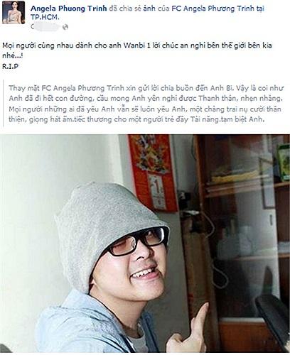Angela Phương Trinh gửi lời tới Wanbi ở thế giới bên kia.