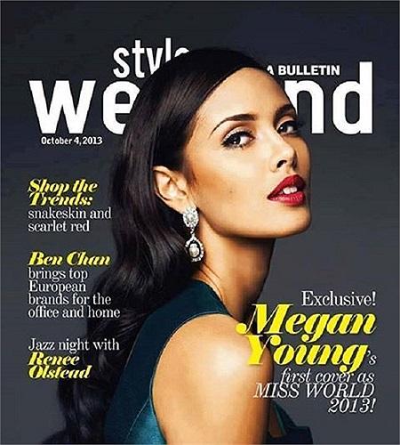 Đây là lần đầu tiên tân Hoa hậu thế giới 2013 Megan Young lên bìa tạp chí.