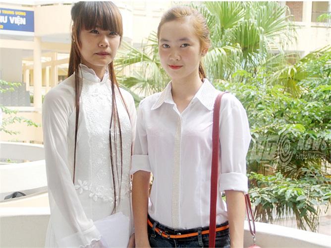 Hai cô bạn Nguyễn Thị Thu Thủy (Hà Nội) và Trương Thúy Hồng (Lào Cai)tự tin với phần thi của mình