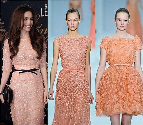 Một số ý kiến trên mạng lại cho rằng hoa văn trên váy của Hồ Ngọc Hà giống các thiết kế thuộc BST Xuân Hè của Louis Vuitton.