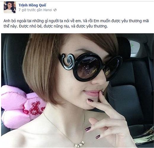 Trịnh Hồng Quế có vẻ đang rất hạnh phúc trong tình yêu.