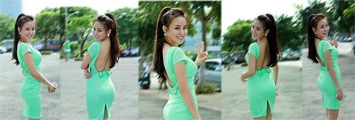 Vy Oanh khoe vẻ gợi cảm trong chiếc váy bó sát.