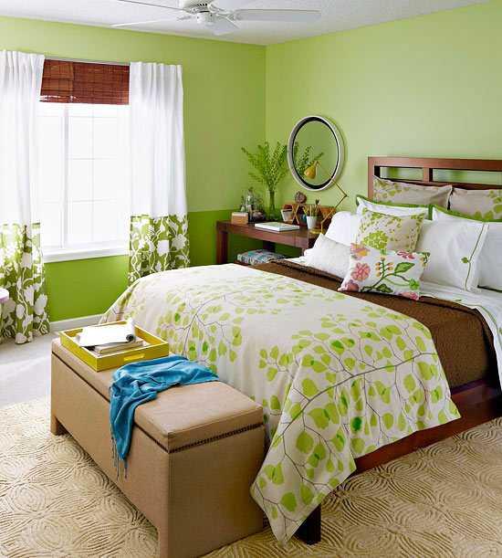 Mùa hè dịu mát với phòng ngủ gam màu xanh lá cây