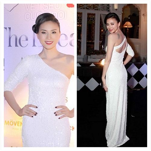 Ngô Thanh Vân và thiết kế khá ấn tượng của Đỗ Mạnh Cường, cô còn khéo khoe được hình xăm trên vai.