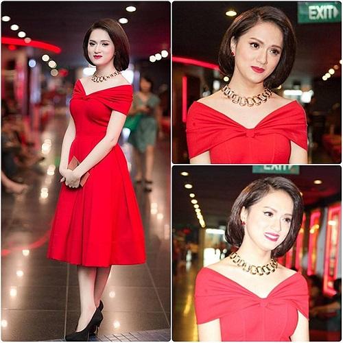 Hương Giang chuyển giới váy đỏ vai trần cực quyến rũ.