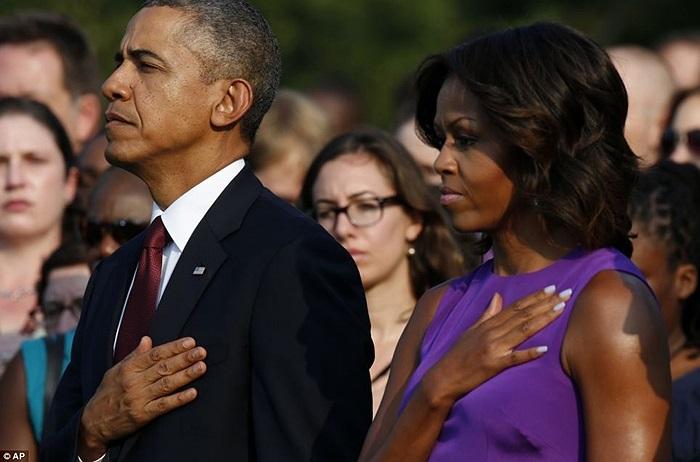 Tổng thống Barack Obama và Đệ nhất phu nhân Michelle Obama trong buổi lễ ở Nhà Trắng