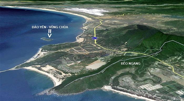Đảo Yến nhìn từ phía Đèo Ngang.