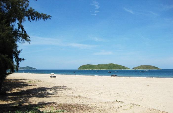Biển Vũng Chùa có những bãi cát trắng trải dài và một triền cây thấp, lá hẹp, nước biển quanh năm trong xanh.