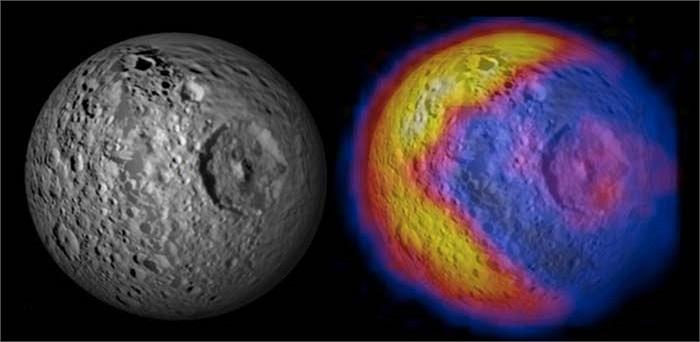 Do sự nóng lên bất thường và đột ngột của các miệng núi lửa, trên bề mặt của mặt  trăng này, khi nhin từ xa chúng ta có thể thấy phần nóng lên bất thường đó có hình ảnh như Pac man trong trò chơi điện tử.