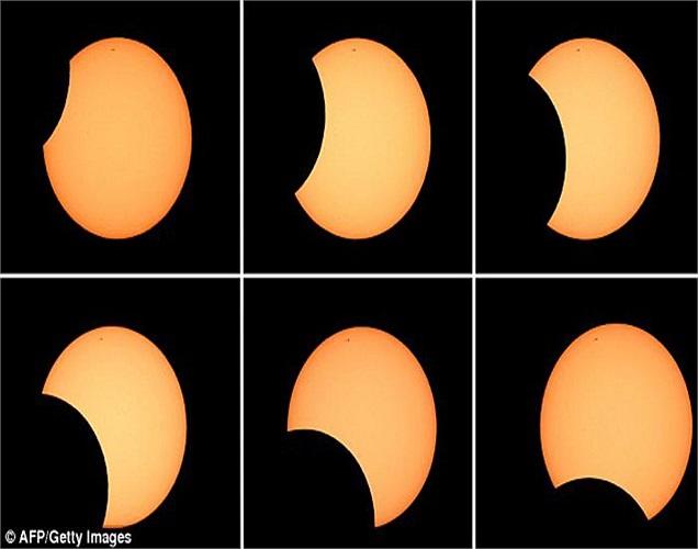 6 bức ảnh cho thấy quá trình diễn ra nhật thực hình khuyên ở Australia hôm qua, 9/5. Nhật thực hình khuyên xảy ra khi Mặt Trời và Mặt Trăng nằm chính xác trên một đường thẳng...