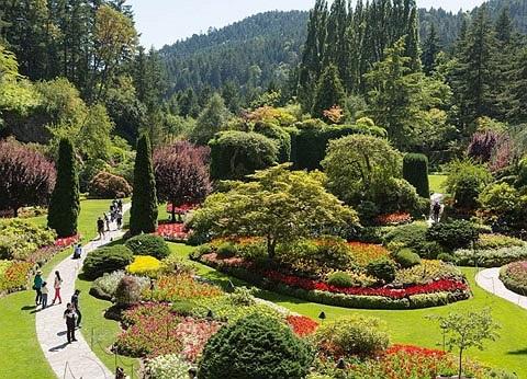 Vườn hoa Butchart, Canada. Đây là một trong những vườn hoa đẹp nhất thế giới, mỗi năm khu vườn thu hút gần triệu du khách thăm quan.