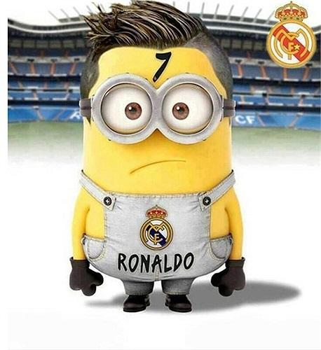 Ronaldo theo phong cách Kẻ cướp mặt trăng. Rõ ràng chú Minion này đẹp trai và đáng yêu chẳng kém gì tiền vệ người Bồ Đào Nha