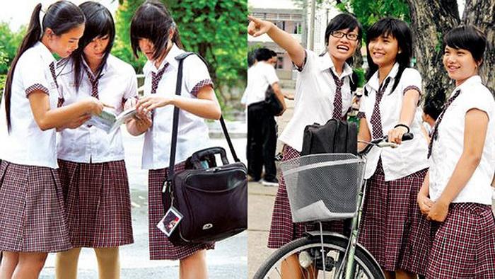 Kiểu đồng phục ca rô váy xếp của teen Hoàng Hoa Thám (TP.HCM) cũng rất được yêu thích.