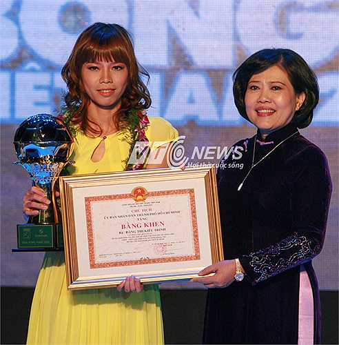 Ngoài ra, Kiều Trinh còn được nhận bằng khen của UBND TP.HCM vì những đóng góp cho thể thao thành phố.