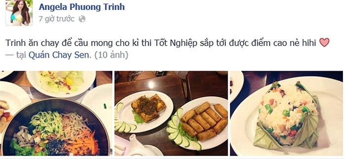 Angela Phương Trinh khoe đang ăn chay để đạt kết quả cao trong kỳ thi tốt nghiệp sắp tới.