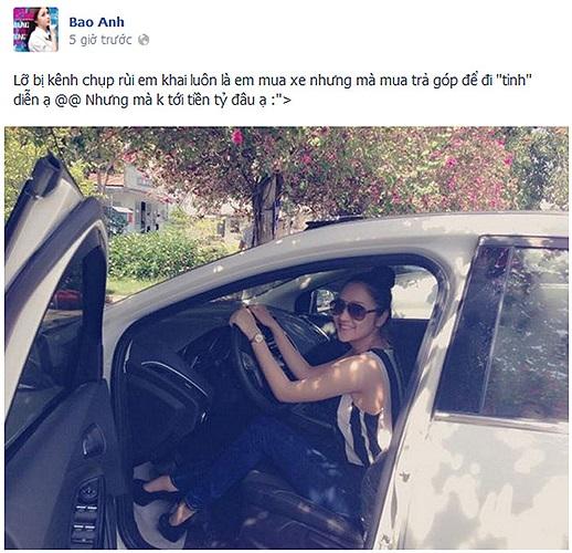 Bảo Anh phân trần về chiếc xe mới mua, cô dùng nó để đi diễn tỉnh, và giá chưa tới tiền tỷ.