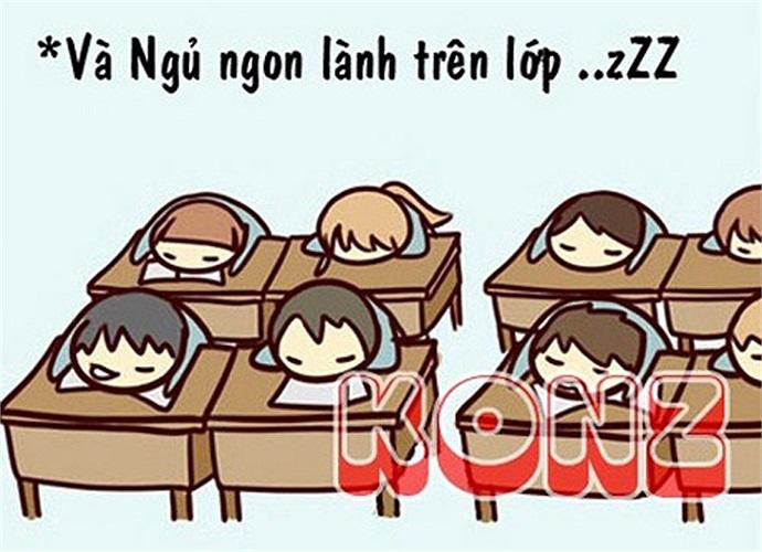 Và ngủ ngon lành trên lớp