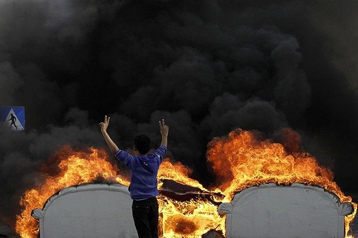 Người phản đối chính phủ trong cuộc biểu tình tại Malkiya, Bahrain