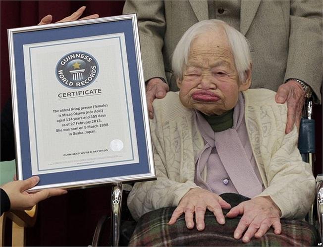 Cụ Misao Okawa, người phụ nữ thọ nhất thế giới hiện nay, năm nay cụ đã 114 tuổi