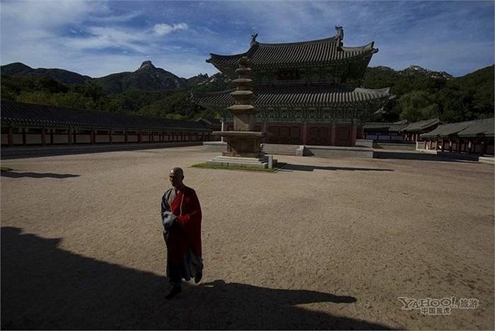 Nhà sư đi bộ trong chùa Ryongthong