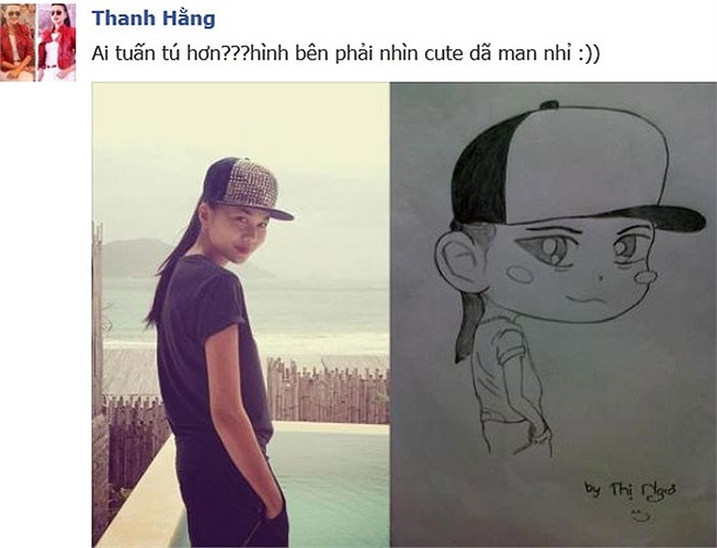 Siêu mẫu Thanh Hằng và những bức hình cực đáng yêu do fan vẽ tặng.