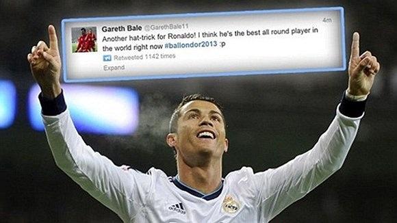Bale ca ngợi tài năng của Ronaldo trên Twitter. Theo cầu thủ xứ Wales thì tài năng của Ronaldo thực sự đáng khâm phục