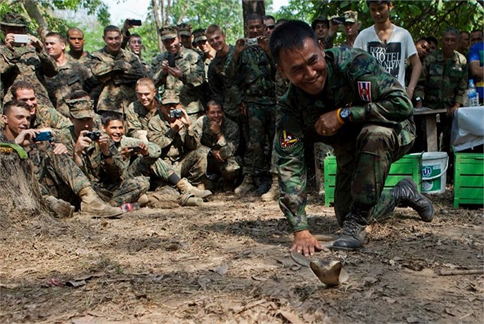 Các binh sĩ đôi khi còn tìm cách chơi đùa với những con rắn hổ mang vô cùng nguy hiểm