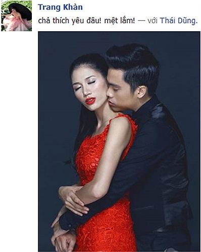Siêu mẫu tố bán dâm Trang Trần khoe ảnh tình tứ với mẫu nam kèm chú thích: 'Không yêu đâu, yêu mệt lắm'.