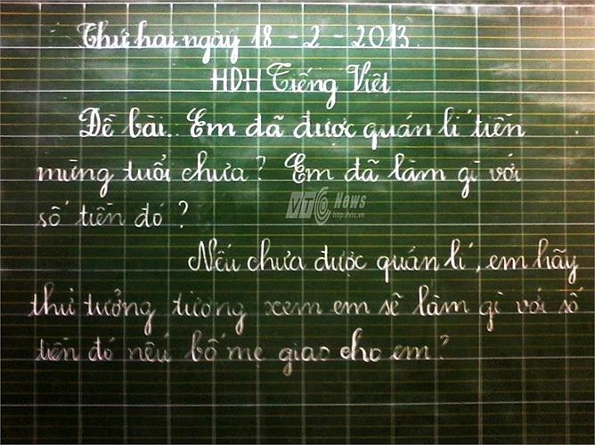 Một giáo viên tiểu học trong giờ hướng dẫn học tiếng Việt đầu năm mới đã đưa ra một bài tập rất thú vị cho các học sinh của mình. Cô giáo cảm thấy rất thú vị trước dự định của các em học sinh khi sử dụng tiền mừng tuổi.