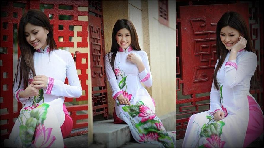 Miss Teen Diễm Trang dịu dàng trong tà áo dài.