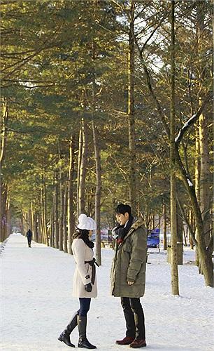 Đến giờ Trà Ngọc Hằng vẫn còn cảm thấy trong tim mình có những xốn xang khi nhớ đến cảnh hai người nắm tay nhau đi giữa đôi hàng cây bình yên, dưới chân là lớp tuyết trắng và xung quanh là những chú sóc truyền cành yên ả.