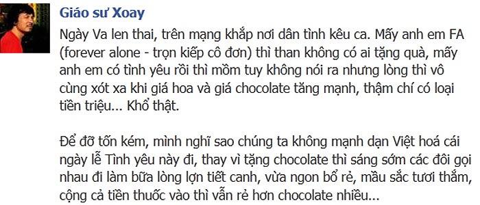 Cù Trọng Xoay mạnh dạn Việt hóa Valentine bằng lòng lợn, tiết canh, ngon, bổ, rẻ, màu sắc tươi thắm, cộng cả tiền thuốc vẫn rẻ hơn chocolate nhiều.