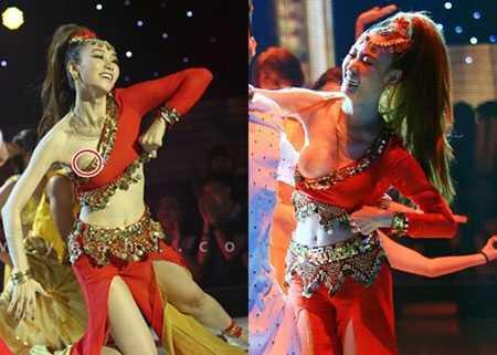 Ngân Khánh cũng từng bị phạt vì trang phục trình diễn làm lộ nguyên một phần ngực của cô