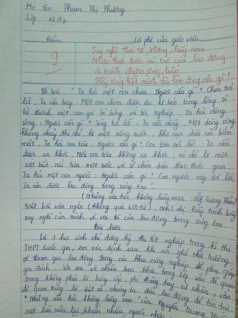 Bài văn đạt 9 điểm của Phạm Thị Phượng