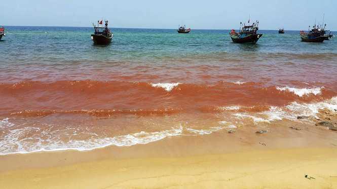 Dải nước màu đỏ đục xuất hiện ở bờ biển huyện Bố Trach, tỉnh Quảng Bình ngày 4/5. (Ảnh: Tuổi Trẻ).