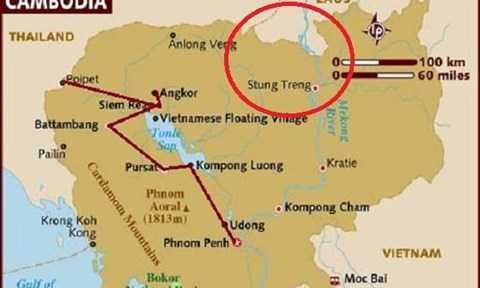 Khu vực biên giới Campuchia- Lào (khoanh đỏ), nơi đang xảy ra tranh chấp.