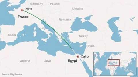 Hành trình bay của phi cơ của Egypt Air. Ảnh: CNN