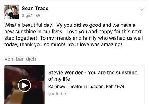Sean Trace không ngừng gửi lời yêu thương đến vợ