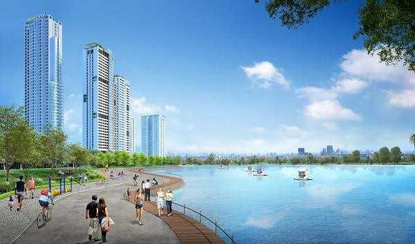 Phối cảnh dự án Mon City nhìn từ hồ điều hòa