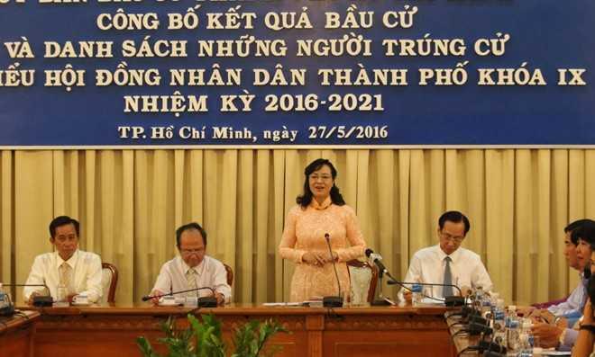 Bà Nguyễn Thị Quyết Tâm tái cử với tỷ lệ 77,74%. Ảnh: Hà Hương.
