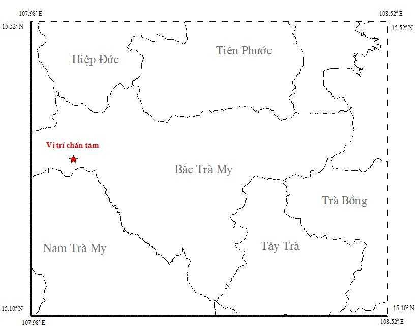 Bản đồ tâm chấn của trận động đất xảy ra ngày 13/4 tại Bắc Trà My.