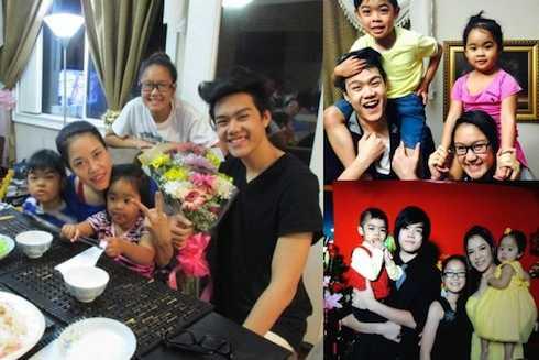 Hình ảnh hạnh phúc của Thu Phương bên 4 con.