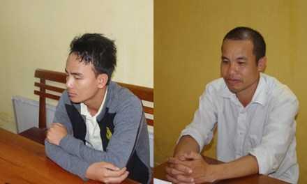 Đối tượng Chu Mạnh Sơn (Trái) và Trương Minh Tam tại cơ quan điều tra.