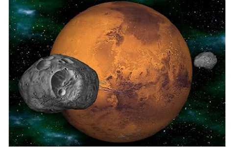 Phobos và Dei là hai vệ tinh sống sót còn lại sau vụ va chạm.