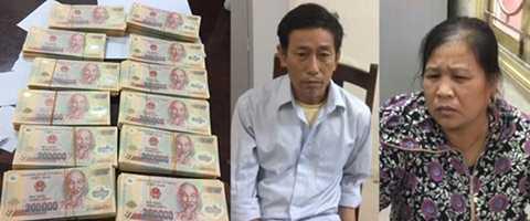 Hai đối tượng Nguyễn Thị Xinh và Trần Văn Bình cùng số tiền giả bị thu giữ