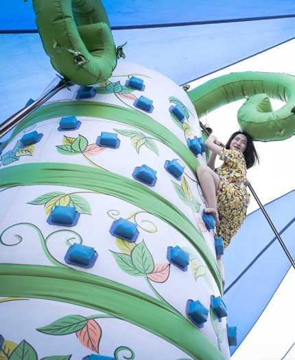 Hòa Minzy chinh phục cây đậu cao 6m