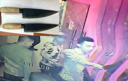 Dao bầu do nhóm thanh niên mang vào quán bar được cảnh sát thu giữ. Ảnh: Q.T