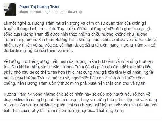Hương Tràm thừa nhận sửa mũi