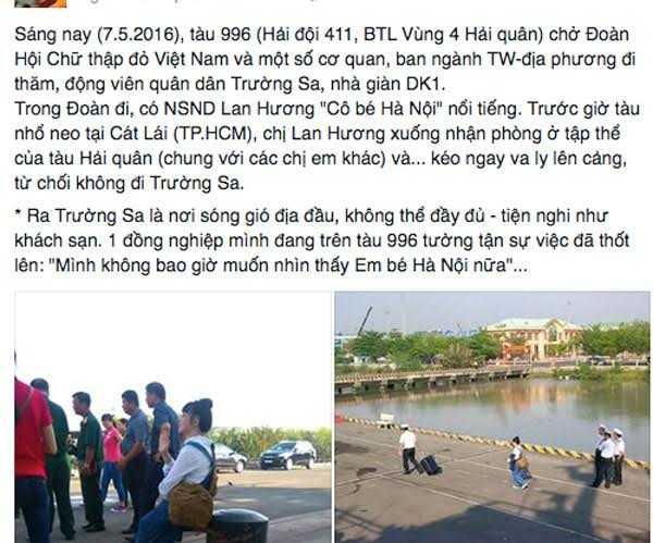 Tài khoản FB tố Lan Hương bỏ về không đi Trường Sa