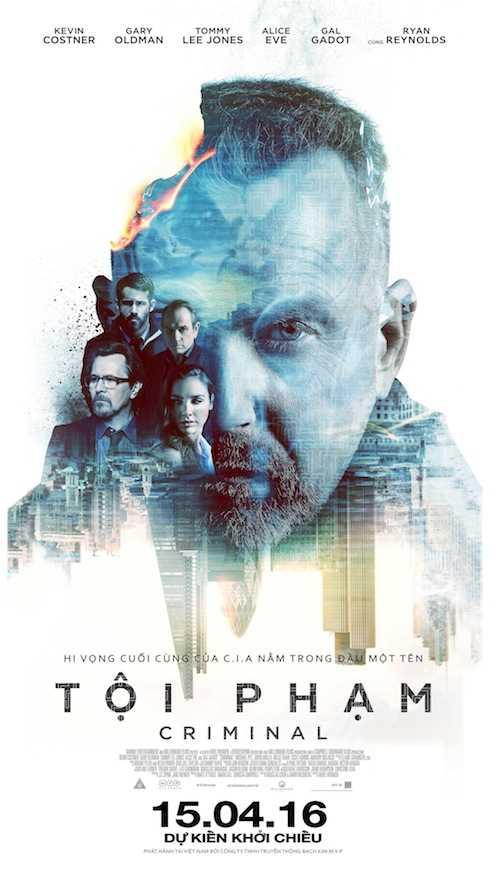 """Ngôi sao hành động Kevin Costner trên poster """"Tội phạm""""."""